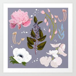 Botanical Peonies Print Purple Art Print