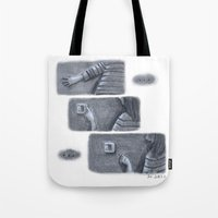 nope Tote Bags featuring ...Nope... by Jia Guo