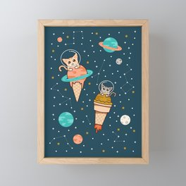 Cats Floating on Ice Cream in Space Framed Mini Art Print