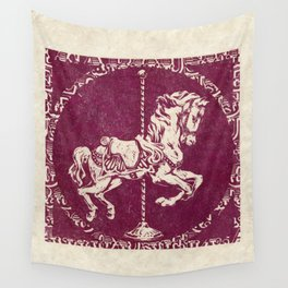 Vintage Carousel Horse - Mulberry Wall Tapestry