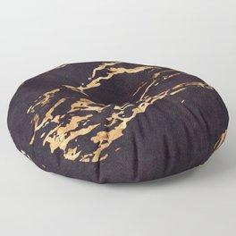 Black Suede Marble With Romantic 24-Karat Gold Veins Floor Pillow