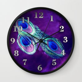 Peacock Feather and Purple Sky Wall Clock