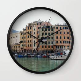 Pastel houses with colorful boats   Amalfi coast travel photography   Pastel sea side in, Italy   Art Print Wall Clock