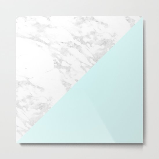 White Marble with Pastel Blue and Grey Metal Print