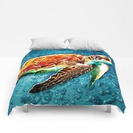 SEA TURTLE SWIMMING Comforters