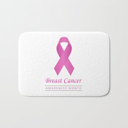 Breast cancer awareness pink ribbon- graphic to support women suffering from breast cancer Bath Mat