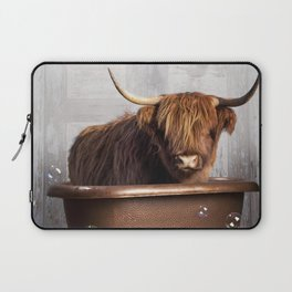Highland Cow in the Tub Laptop Sleeve