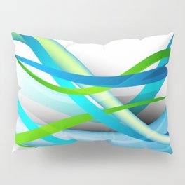 Modern Blue and Green Streamers Pillow Sham