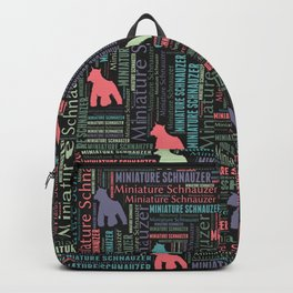 Miniature Schnauzer silhouette and word art pattern Backpack