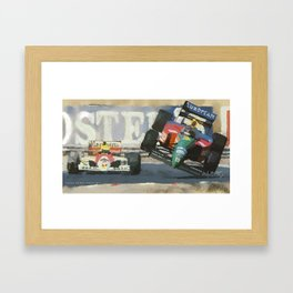 Senna puts Nannini off the track, Hungaroring 1990 Framed Art Print