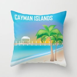Cayman Islands - Skyline Illustration by Loose Petals Throw Pillow
