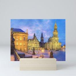 Dresden skyline at dusk Mini Art Print