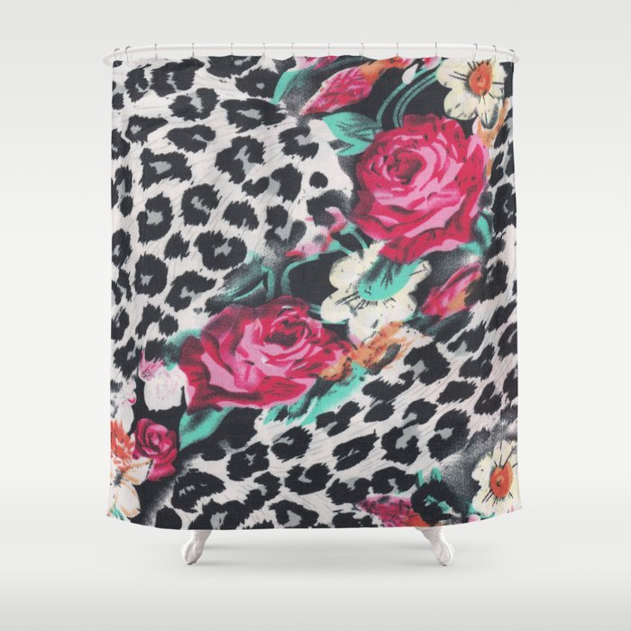 Vintage Black White Pink Floral Cheetah Animal Print Shower Curtain