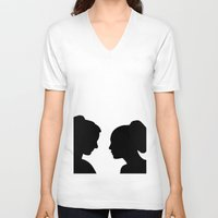 glee V-neck T-shirts featuring Brittana - Glee - Silhouette Minimalist design by Hrern1313