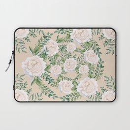 Garden Roses Mandala Pink Green Cream Laptop Sleeve