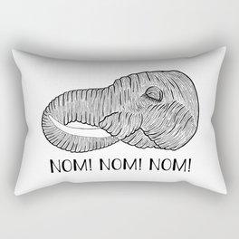 Elephant NOM! NOM! NOM! White Background Rectangular Pillow