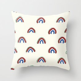 Hand Drawn Red Rainbows Throw Pillow