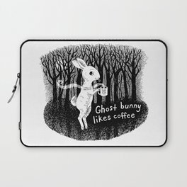 Ghost bunny likes coffee Laptop Sleeve