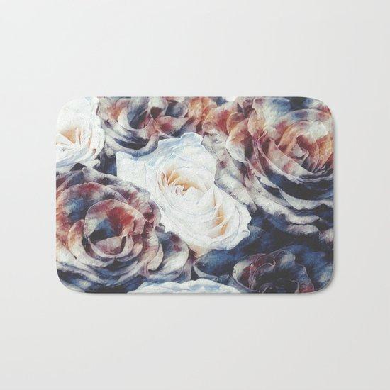 Roses print in retro drawing style watercolor digital Bath Mat