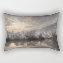 Wintery morning by the  river Rectangular Pillow