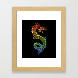Traditional Chinese dragon in rainbow colors Framed Art Print