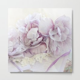 Dreamy Ethereal Lavender White Roses Print and Home Decor Metal Print