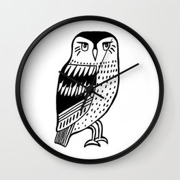 Wise Owl Black Line Drawing Wall Clock