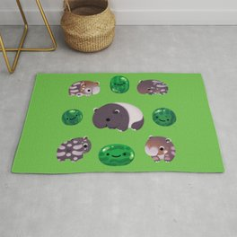 Tapir and baby watermelons Rug