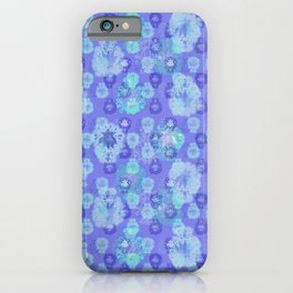 Lotus flower - pool blue woodblock print style pattern iPhone Case