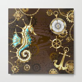 Wooden Background with Mechanical Seahorse ( Steampunk ) Metal Print