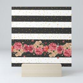 Modern black stripes gold faux glitter floral Mini Art Print