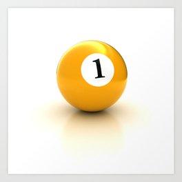 yellow pool billiard ball number 1 one Art Print