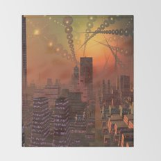 Spherople Alien City Throw Blanket
