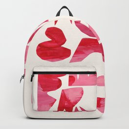 'Heart Shapes 2' Pink Red Colorful Abstract Paper Collage by Ejaaz Haniff Backpack