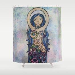 Pearlescent floral spiral goddess Shower Curtain