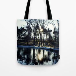Tree Reflections at Kissena Park Pond - Queens, New York City Tote Bag