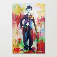 charlie chaplin Canvas Prints featuring Charlie Chaplin by Marta Zawadzka
