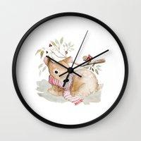 craftberrybush Wall Clocks featuring Watercolor Christmas fawn by craftberrybush