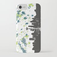 seahawks iPhone & iPod Cases featuring Seahawks Seattle Skyline by Blythe Green
