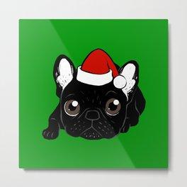 Brindle Frenchie loves Christmas season Metal Print