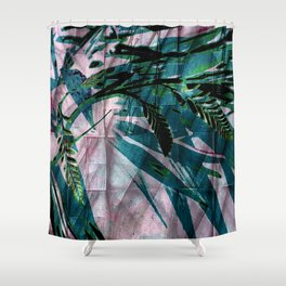 Crocosmia Shimmer in Pink Teal Green Shower Curtain