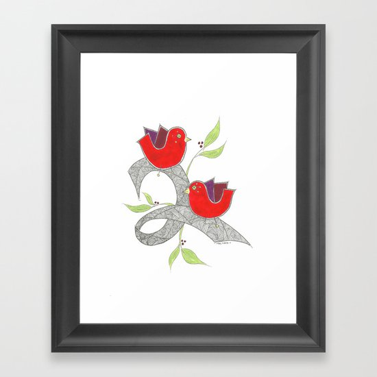 Red Birds Framed Art Print