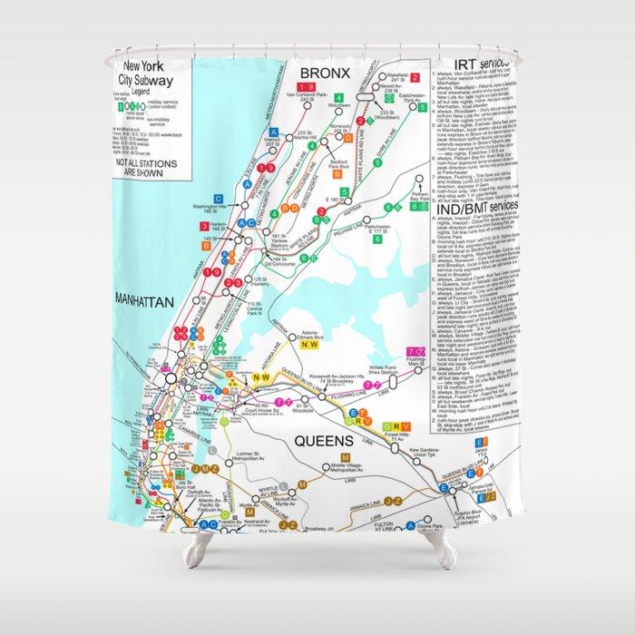 Ny Subway Map Shower Curtain.New York City Metro Subway Map Shower Curtain By Vintageartstore