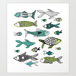 Sea life green & blue ocean fishes Art Print