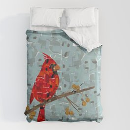 Red Cardinal Collage Duvet Cover