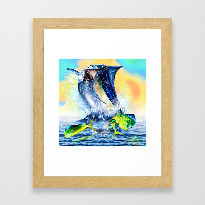 Jumping blue Marlin Chasing Bull Dolphins Framed Art Print