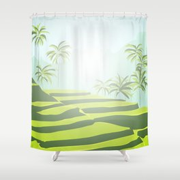 Tegalalang Rice Terraces, Bali, Indonesia Travel Poster Shower Curtain
