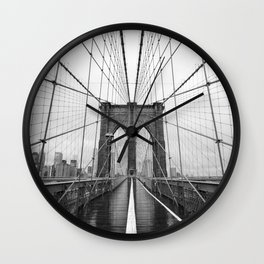 Black and White of Brooklyn Bridge Wall Clock