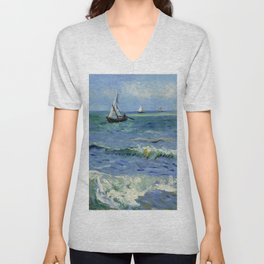 "Vincent Van Gogh ""The Sea at Les Saintes-Maries-de-la-Mer"" Unisex V-Neck"