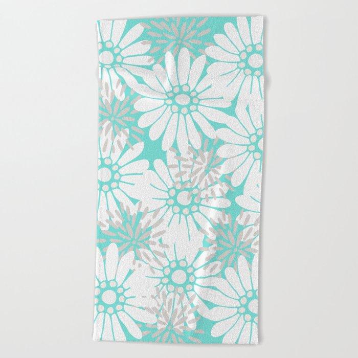 Summer Flowers Turquoise Beach Towel